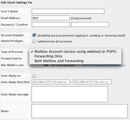 Mail Server - User Settings