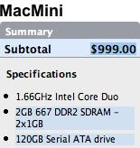 MacMini 1.66Ghz Core Duo - 2GB RAM, bigger hard drive